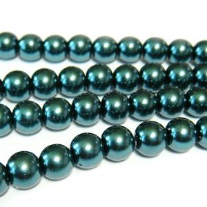 Perle sticla, verde-smarald, 8mm 10 buc