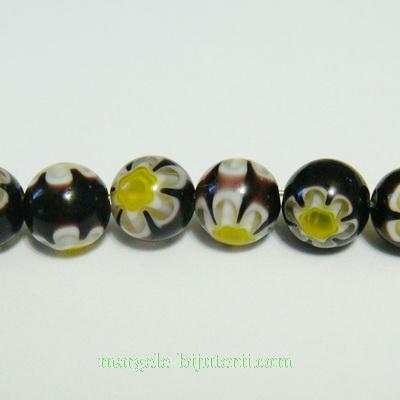 Margele millefiori negre cu galben 8mm 1 buc