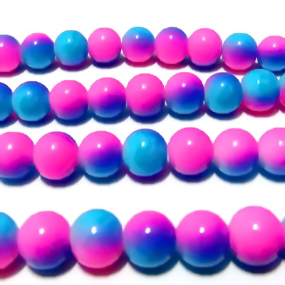 Margele sticla rotunde roz-alb-albastre 10 mm 10 buc