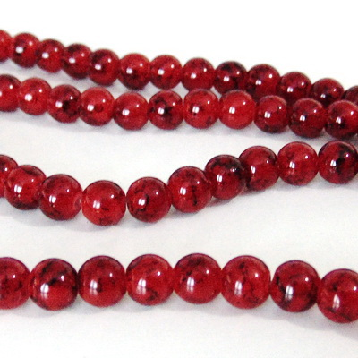 Margele sticla rotunde rosii-bordo 8 mm 10 buc