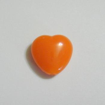 Margele plastic portocalii, inimioare 13x13mm 1 buc