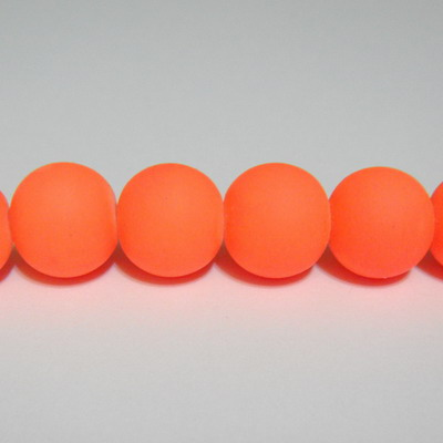 Margele sticla cauciucate, portocalii, 14mm 1 buc