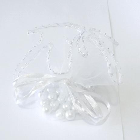 Saculeti organza albi cu diametrul de 24 cm 1 buc