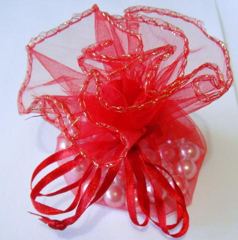 Saculeti organza rosii cu diametrul de 24 cm 1 buc