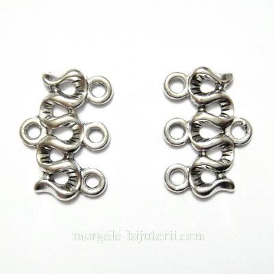 Capat multisir cu 3 bucle, argint tibetan, 18x12mm 1 buc