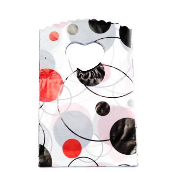 Pungi plastic, albe cu rosu si negru, 14x9 cm cca 50 buc