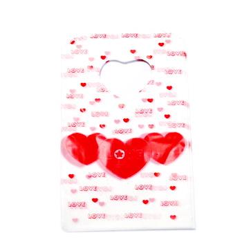 Pungi plastic, albe cu inimioare, 14x9 cm cca 50 buc