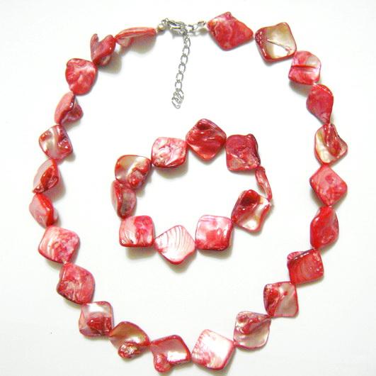 Colier si bratara perle sidef rosu, 15-18 mm 1 set