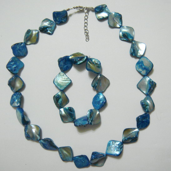 Colier si bratara perle sidef turcoaz, 15-18 mm 1 set
