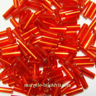 Margele tubulare, rosii cu interior argintiu, 5-6mm 20 g