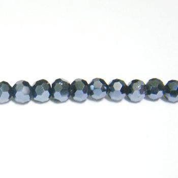 Margele sticla multifete negre-hematit, 4mm 10 buc