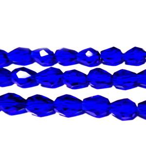 Margele sticla multifete albastre, lacrima 8x6 mm 1 buc