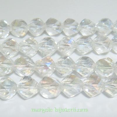 Margele sticla AB, 4 fete, 8mm 1 buc