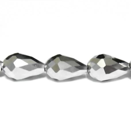 Margele sticla multifete argintii, lacrima 15x10 mm 1 buc