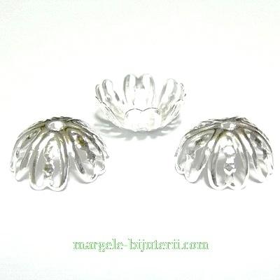 Capacele filigran argintii, cu 6 petale, 12x5 mm 10 buc