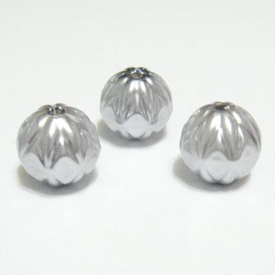 Margele plastic decorate, gri, 14mm 1 buc