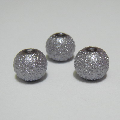Perle sticla, stardust, gri, 8mm 10 buc