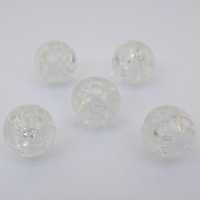 Margele plastic crackle transparente 8mm 10 buc