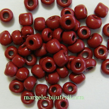 Margele nisip, opace, bordo, 4mm 20 g