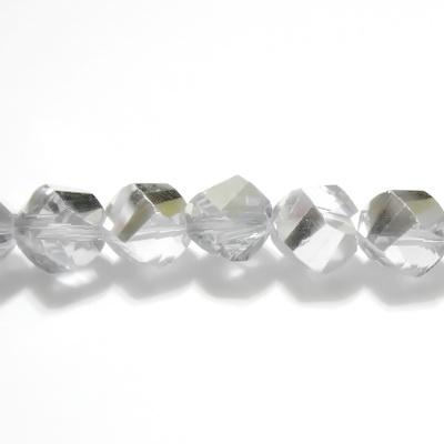 Margele sticla argintii-semitransparente, 4 fete, 6mm 1 buc