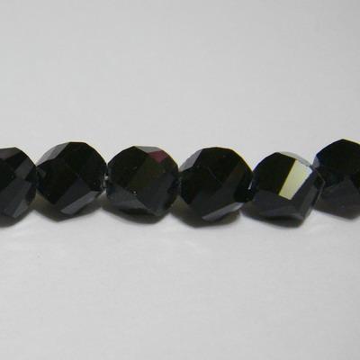 Margele sticla negre, 4 fete, 8 mm 1 buc