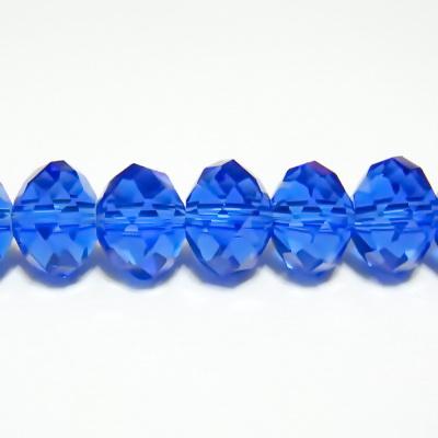 Margele sticla multifete albastre, 10x8mm 1 buc