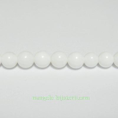 Agata alba sferica, 4.3mm 1 buc