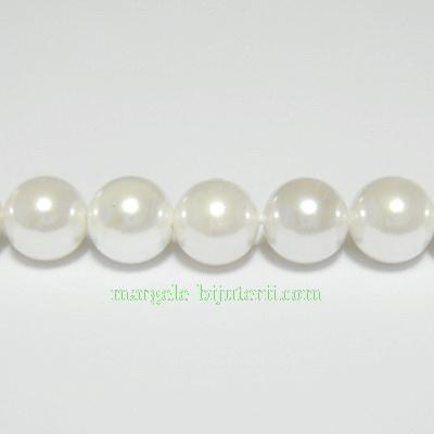 Perle stil Mallorca, albe, 8.5mm 1 buc