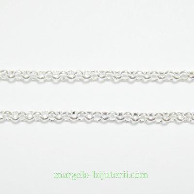 Lant cu zale 2mm, placat cu argint 1 m