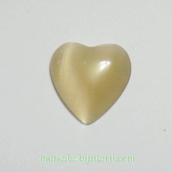 Cabochon sticla bej, inima 14 mm 1 buc