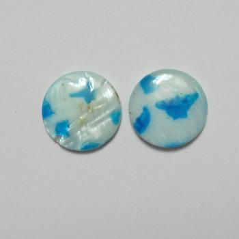 Perle plate sidef alb cu bleu, 14x3mm 1 buc