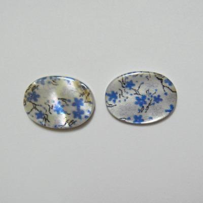 Perle plate sidef alb cu albastru, 18x13x3mm, orificiu 1mm 1 buc