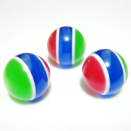 Margele rasina rosii-albastru-verde, imitatie ochi de pisica, 18mm 1 buc