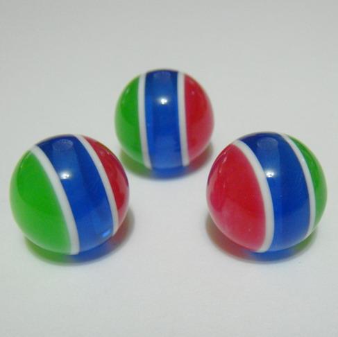 Margele rasina rosii-albastru-verde, imit.ochi de pisica, 20mm 1 buc