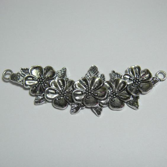 Pandantiv argint tibetan cu flori, 113x38mm 1 buc
