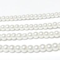 Perle sticla albe, 4mm(nuanta spre crem) 10 buc