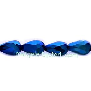 Margele sticla albastre metalizate, lacrima 15x10mm 1 buc