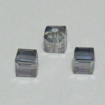 Margele sticla mov AB, cubice cu muchii tesite, 4x4mm 1 buc