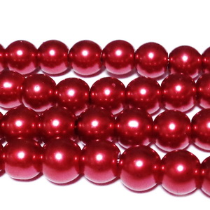 Perle sticla rosii, 8.5mm 10 buc