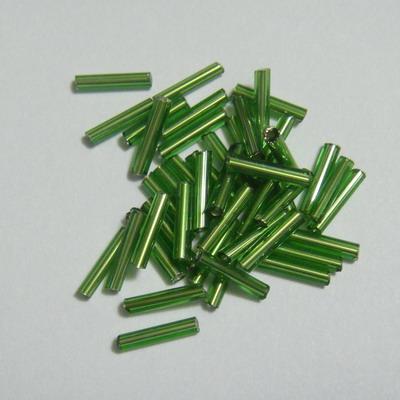 Margele tubulare, verzi cu miez argintiu, 9mm 20 g