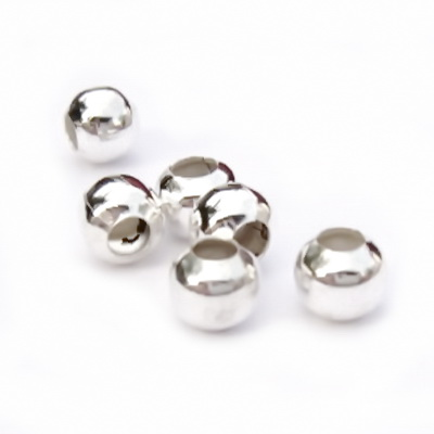 Margele metalice argintii, lucioase 6mm 10 buc