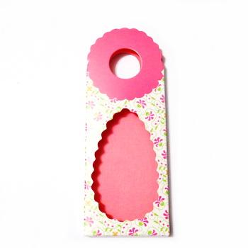 Cutie martisor, roz cu floricele, 13x5x0.7 cm 10 buc