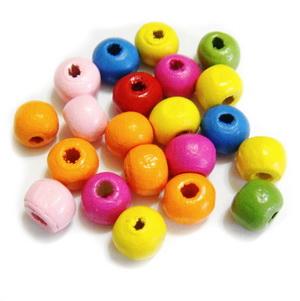 Margele lemn multicolore, sferice, 8mm 30 buc