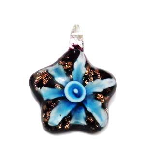 Pandantiv  Lampwork, cu interior floare bleu, 43x32x10mm 1 buc