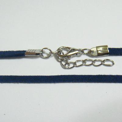 Snur faux suede, 3x1.5mm, bleumaren, cu inchizatoare, 45 cm 1 buc