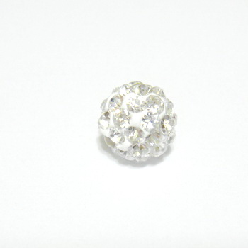 Margele shamballa albe, 8mm 1 buc