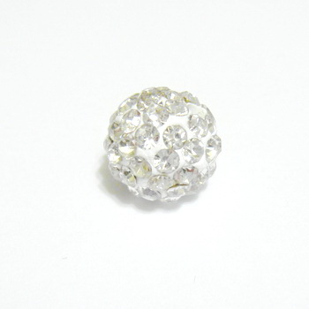 Margele shamballa albe, 10mm