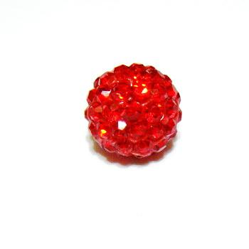 Margele shamballa rosii, 12mm 1 buc