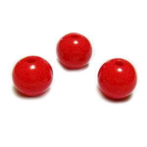 Margele plastic rosu, 12mm, orificiu 2mm 1 buc
