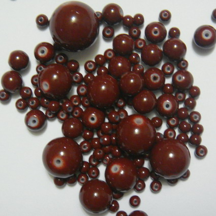 Mix margele sticla maro 4-18 mm 50 g